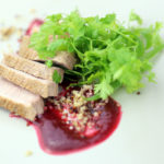 Home smoked duck breast with quinoa and plum