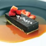 Salted chocolate tart with caramel sauce