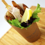 Swordfish skewers, kipfler potato chips and homemade tartare sauce