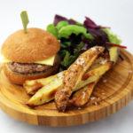 Mini cheeseburger and kipfler potato chips