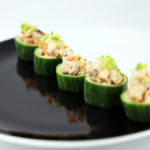 Cucumber cups with smoked chicken and preserved lemon